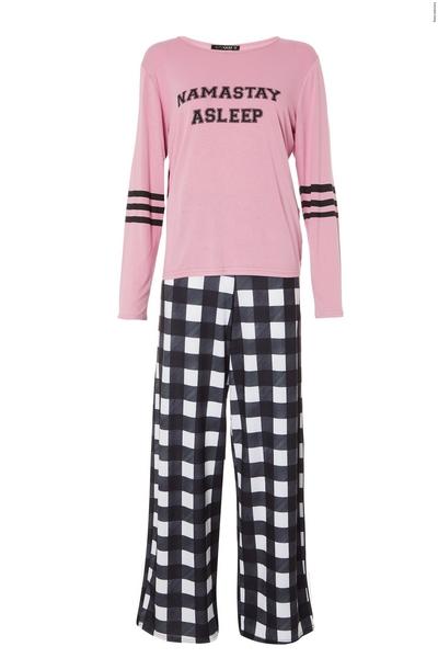 Black Check Long Pyjama Set